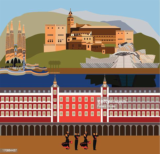 montage of the tourist attractions of spain with the traditional flamenco dancing - en búsqueda stock illustrations