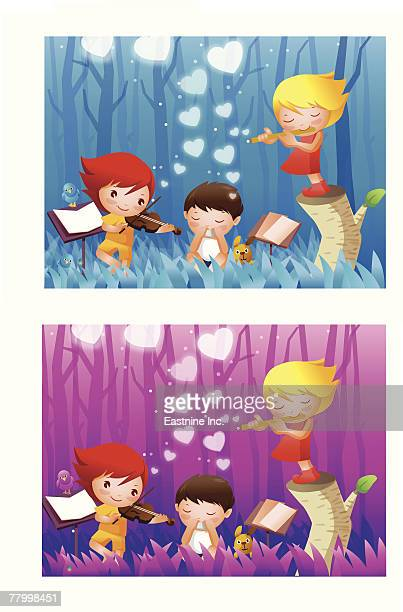 illustrations, cliparts, dessins animés et icônes de montage of two girls and a boy playing musical instruments in a forest - pupitre à musique