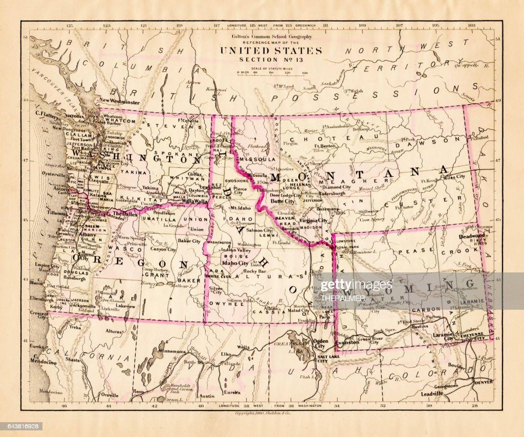 Montana And Idaho Map.Montana Washington Oregon Idaho Map 1881 Stock Illustration Getty