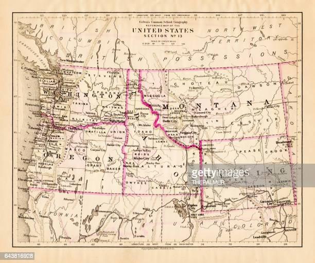 Montana Washington Oregon Idaho map 1881