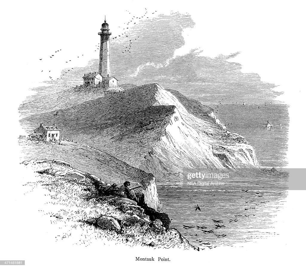 Montauk Point, Eastern Long Island | Historic American Illustrations : stock illustration