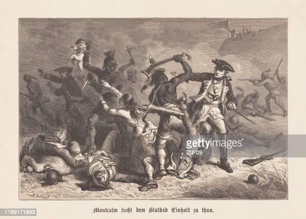 illustrations, cliparts, dessins animés et icônes de montcalm arrêter les amérindiens au fort william henry - guerre