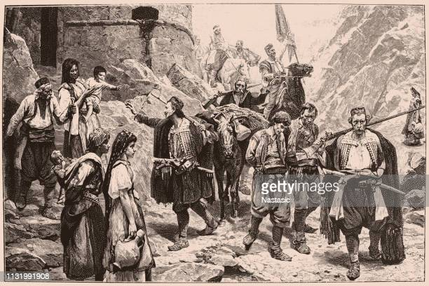 montenegrin's returning from the fight - montenegro stock illustrations, clip art, cartoons, & icons
