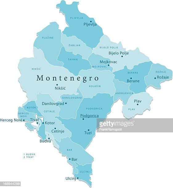 montenegro vektor-karte regionen isoliert - montenegro stock-grafiken, -clipart, -cartoons und -symbole