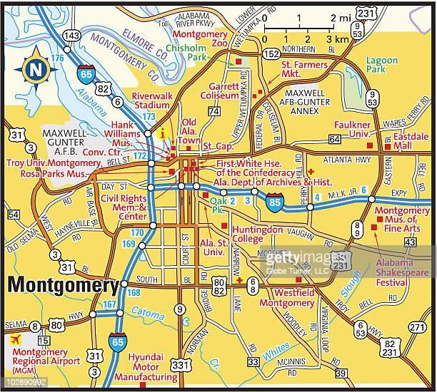 montgomery, alabama area map - montgomery alabama stock illustrations, clip art, cartoons, & icons