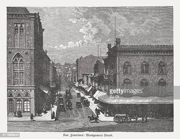 ilustrações, clipart, desenhos animados e ícones de montgomery rua, san francisco, eua, entalhes de madeira, publicado em 1880 - usa