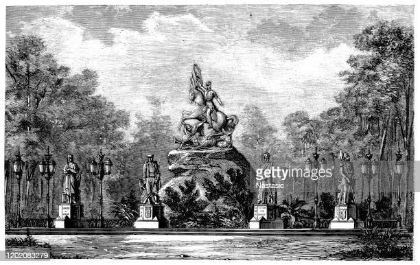 ilustrações, clipart, desenhos animados e ícones de monumento ao general prim (barcelona) - peru vs colombia