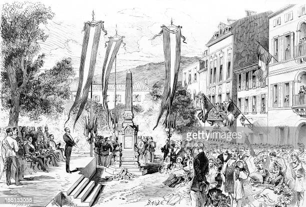 monument inauguration in epinal - lorraine stock illustrations, clip art, cartoons, & icons