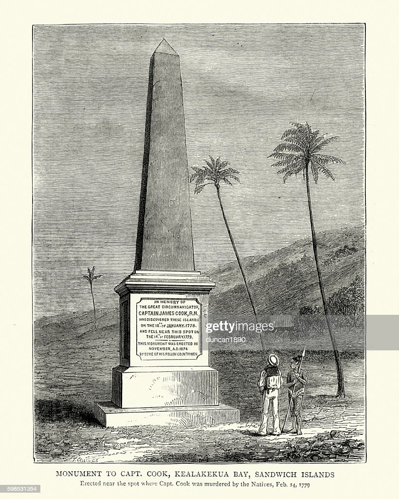 Monument to Captain James Cook : stock illustration
