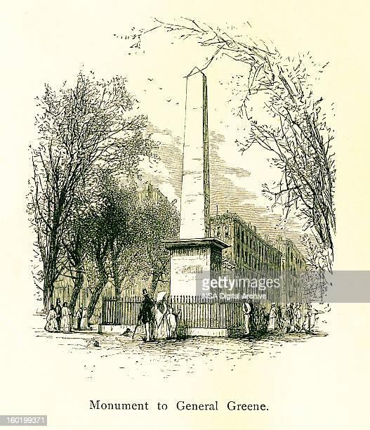 monument to general nathanael greene, georgia - savannah georgia stock illustrations, clip art, cartoons, & icons