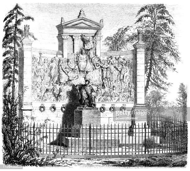 monument to jean ingres in montauban, france - 19th century - midi pyrénées stock illustrations, clip art, cartoons, & icons