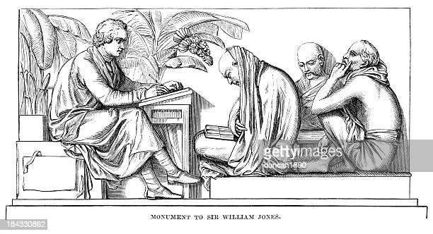 ilustraciones, imágenes clip art, dibujos animados e iconos de stock de monumento a sir william jones - etnia del subcontinente indio