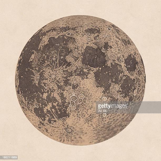 bildbanksillustrationer, clip art samt tecknat material och ikoner med moon, declarations of craters and mountains, 1881 - litografi
