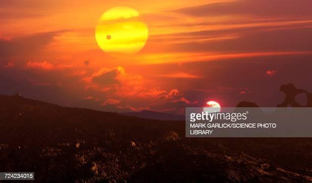 moon of kepler 16b - sunset stock illustrations