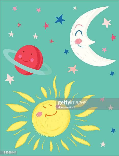ilustraciones, imágenes clip art, dibujos animados e iconos de stock de moon, el sol, el planeta y estrellas - sol en la cara