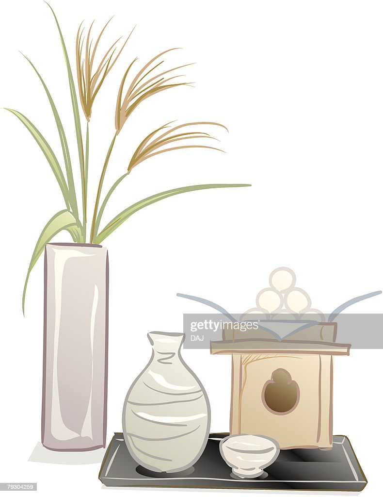 Moon viewing with dumpling and pampas grass, tsukimi : stock illustration