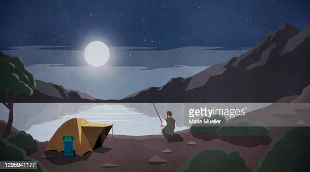 moonlight over man fishing at remote lakeside campsite - leisure activity stock illustrations