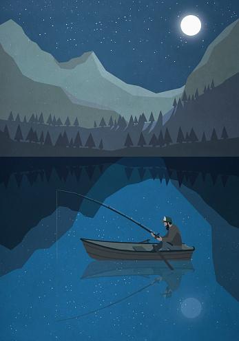 Moonlight shining over man fishing in boat on mountain lake - gettyimageskorea