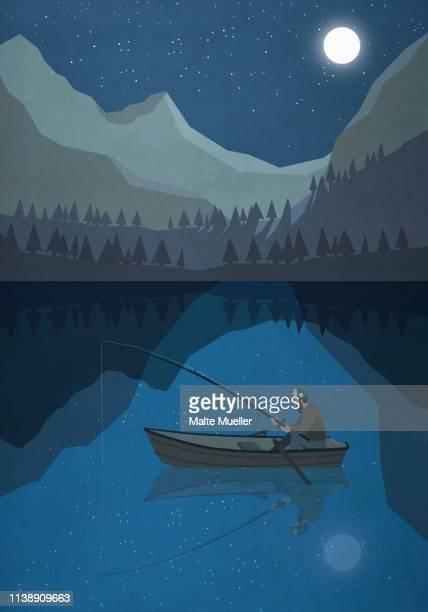 ilustraciones, imágenes clip art, dibujos animados e iconos de stock de moonlight shining over man fishing in boat on mountain lake - luna llena