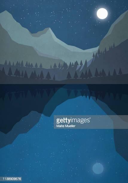 moonlight shining over tranquil mountain lake - tranquil scene stock illustrations