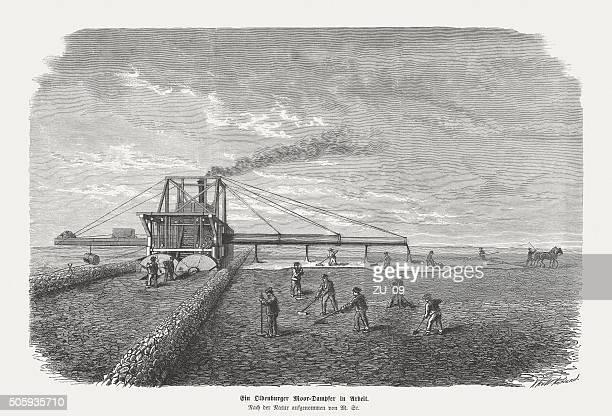 Moor steam lokomobile, wood engraving, published in 1873