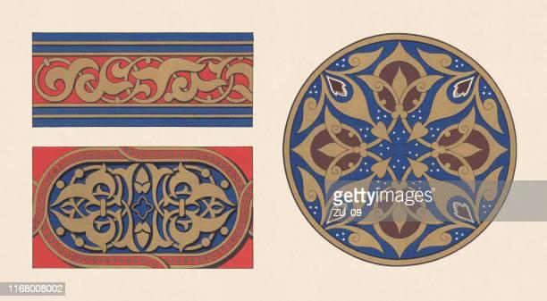 ilustraciones, imágenes clip art, dibujos animados e iconos de stock de ornamentos moriscos y árabes, cromolitógrafo, publicado en 1881 - moruno