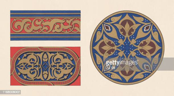 moorish and arabic ornaments, chromolithograph, published in 1881 - embellishment stock illustrations