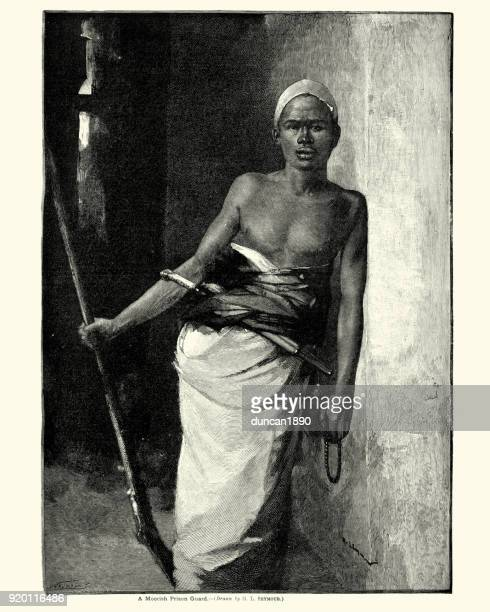 moorish prison guard, 19th century - morocco stock illustrations, clip art, cartoons, & icons