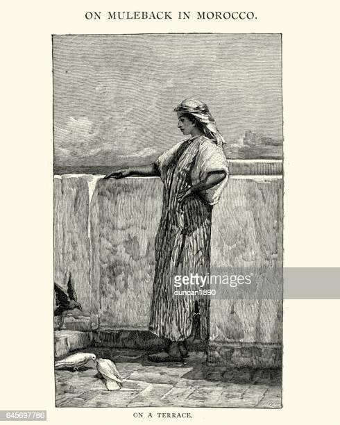 moorish woman on a terrace, 19th century - morocco stock illustrations, clip art, cartoons, & icons