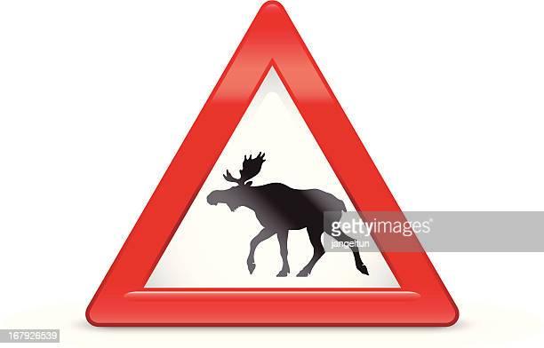 bildbanksillustrationer, clip art samt tecknat material och ikoner med moose sign - älg