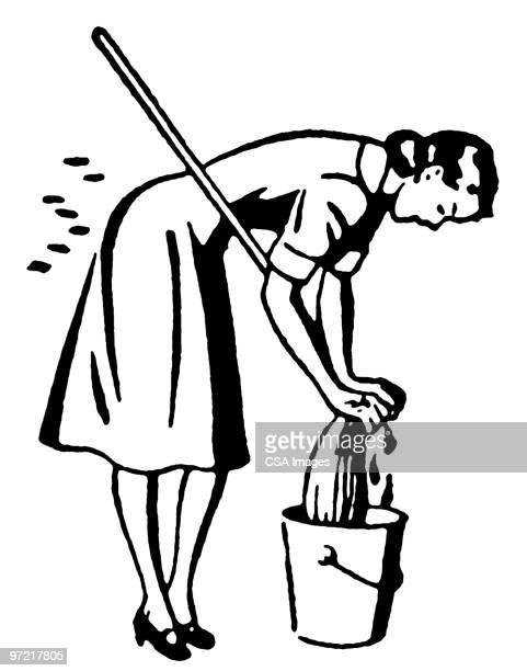 mop - maid stock illustrations, clip art, cartoons, & icons