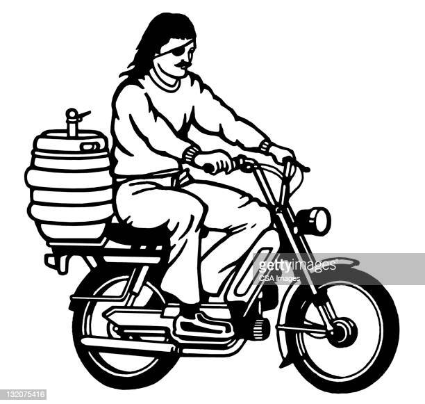 moped guy with keg on the back - moped stock illustrations, clip art, cartoons, & icons