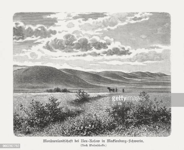 moraine landscape near neu-rosow, germany, wood engraving, published in 1897 - neu stock illustrations