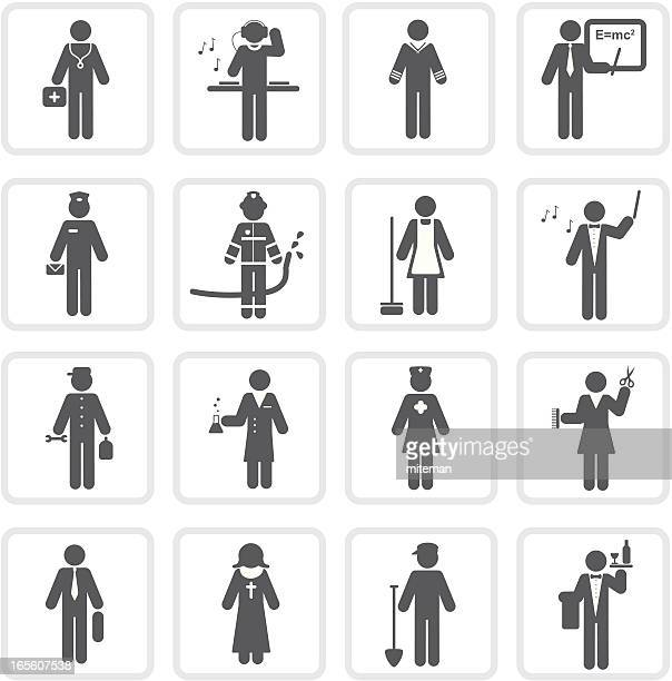 mehr berufe/raw-kollektion - strichmännchen stock-grafiken, -clipart, -cartoons und -symbole