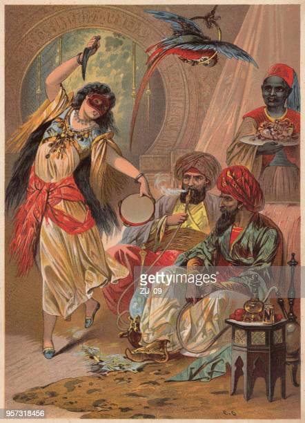morgiana kill the robber captain, from ali baba, arabian nights - hookah stock illustrations, clip art, cartoons, & icons