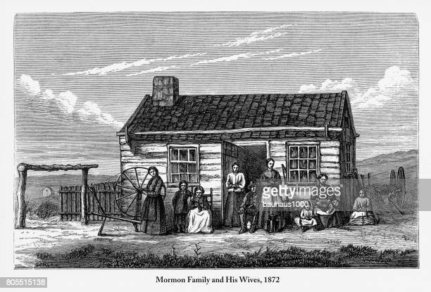 mormon and his family and wives engraving, 1872 - bigamy stock illustrations