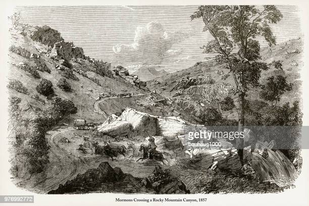 Mormons Crossing a Rocky Mountain Canyon Engraving, 1857