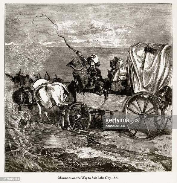 Mormons on the Way to Salt Lake City Engraving, 1871