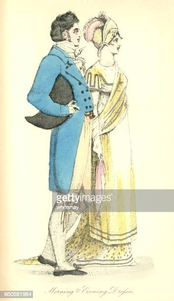 Morning and evening dress, male and female, 1807