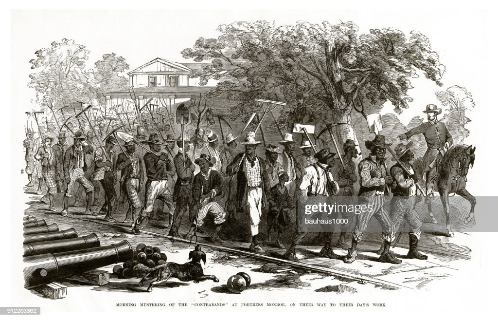 """Morning Mustering of the """"Contrabands"""" at Fortress Monroe, on Their Way to Their Day's Work Civil War Engraving : stock illustration"""