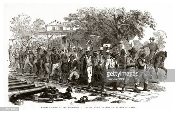 "Morning Mustering of the ""Contrabands"" at Fortress Monroe, on Their Way to Their Day's Work Civil War Engraving"