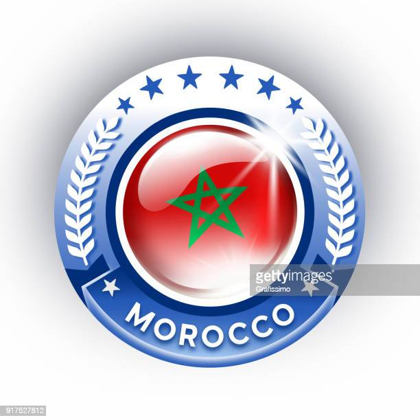 morocco button with flag isolated on white - morocco stock illustrations, clip art, cartoons, & icons