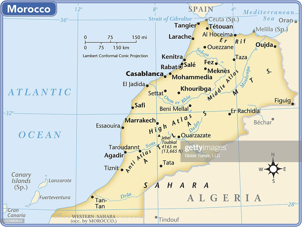 Morocco Country Map Vector Art Getty Images