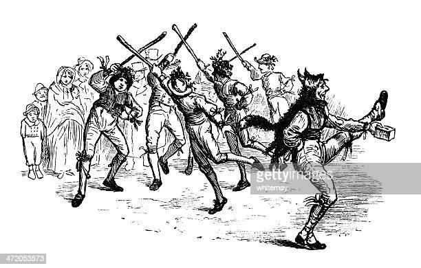 morris dancing - boxing day stock illustrations