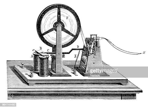 morse code receiver - telegram stock illustrations