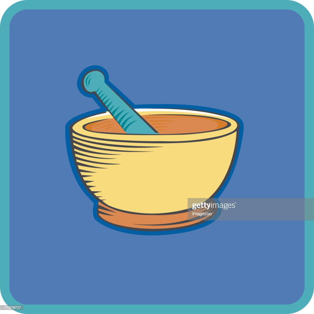 mortar and pestle on background : Stock-Illustration
