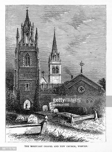 mortuary chapel and church, woburn, england victorian engraving, circa 1840 - chapel stock illustrations, clip art, cartoons, & icons