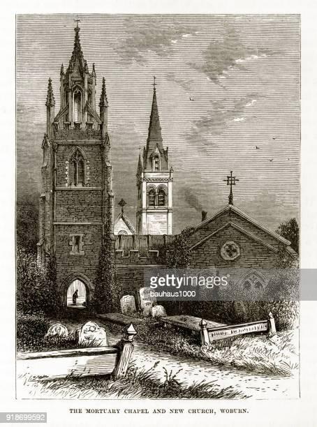 ilustrações, clipart, desenhos animados e ícones de capela mortuária e igreja, gravura de woburn, inglaterra vitoriana, cerca de 1840 - spire