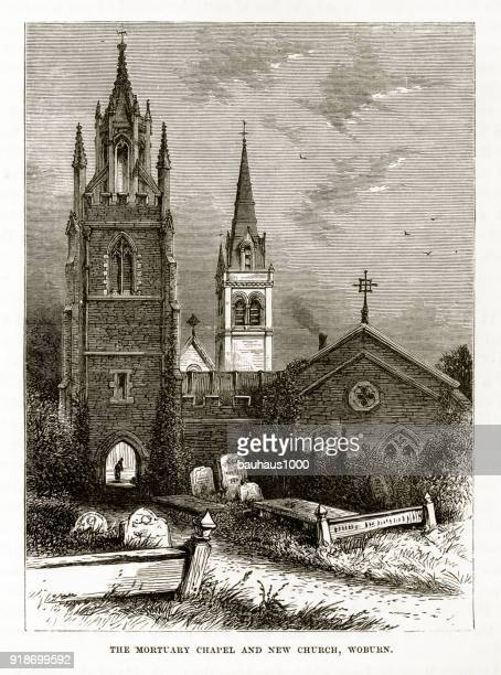 mortuary chapel and church, woburn, england victorian engraving, circa 1840 - spire stock illustrations, clip art, cartoons, & icons