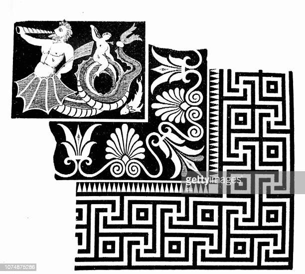 mosaic floor from the zeus temple in olympia - ancient olympia greece stock illustrations, clip art, cartoons, & icons